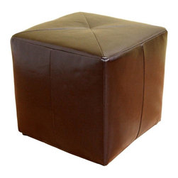 Wholesale Interiors - Baxton Studio Aric Bonded Leather Ottoman - Small, versatile, affordable � this bonded leather cube ottoman in dark brown can be placed anywhere and used for just about anything. From a foot rest to additional seating, from a coffee table arrangement to an accent-the rich look of the shiny leather will enhance your interior. The ottoman is lightly padded with foam and includes small round black plastic feet. This item will arrive fully assembled.