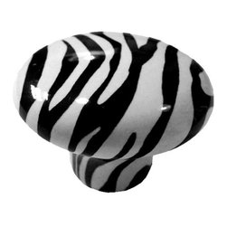 Carolina Hardware and Decor, LLC - Zebra Print Ceramic Cabinet Drawer Knob - 1 1/2 inch white ceramic knob with one inch mounting hardware included.  Great as a cabinet, drawer, or furniture knob.  Adds a nice finishing touch to any room!