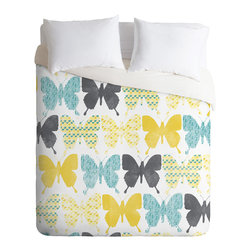 DENY Designs - Loni Harris Patterned Butterflies Duvet Cover - Turn your basic, boring down comforter into the super stylish focal point of your bedroom. Our Luxe Duvet is made from a heavy-weight luxurious woven polyester with a 50% cotton/50% polyester cream bottom. It also includes a hidden zipper with interior corner ties to secure your comforter. it's comfy, fade-resistant, and custom printed for each and every customer.
