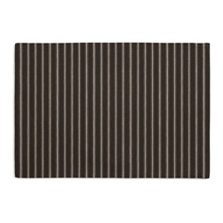 Black & White Pinstripe Custom Placemat Set - Is your table looking sad and lonely? Give it a boost with at set of Simple Placemats. Customizable in hundreds of fabrics, you're sure to find the perfect set for daily dining or that fancy shindig. We love it in this black & white woven ticking stripe as classic as chic & shiny piano keys.