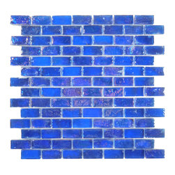 "Glass Tile Oasis - Cobalt Uniform Brick Blue Bricks Glossy & Iridescent Glass - Sheet size:  11 7/8"" x 11 7/8""        Tile Size:  3/4"" x 1 5/8""        Tiles per sheet:  98        Tile thickness:  1/4""        Grout Joints:  1/8""        Sheet Mount:  Plastic Face     Sold by the sheet     -"