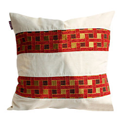 Blancho Bedding - [Passion Red Valley] Linen Patch Work Pillow Floor Cushion (19.7 by 19.7 inches) - Aesthetics and Functionality Combined. Hug and wrap your arms around this stylish decorative pillow measuring 19.7 by 19.7 inches, offering a sense of warmth and comfort to home buddies and outdoors people alike. Find a friend in its team of skilled and creative designers as they seek to use materials only of the highest quality. This art pillow by Onitiva features contemporary design, modern elegance and fine construction. The pillow is made to have invisible zippers, linen shells and fill-down alternative. The rich look and feel, extraordinary textures and vivid colors of this comfy pillow transforms an ordinary, dull room into an exciting and luxurious place for rest and recreation. Suitable for your living room, bedroom, office and patio. It will surely add a touch of life, variety and magic to any rooms in your home. The pillow has a hidden side zipper to remove the center fill for easy washing of the cover if needed.