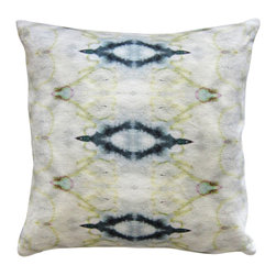 """Eskayel - The Knitting - Sand 18""""X18"""" Pesto - No matter how hard you try, you can't resist the tie-dye-like rhythm of this pillow. Printed on 100 percent linen, the pattern features indigo, olive and a few pops of pink on a creamy, dreamy background."""