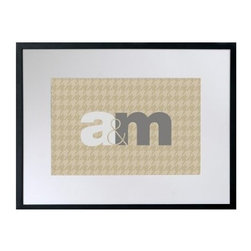 Unity Personalized Framed Wall Decor - 24W x 18H in. - Your home deserves high-living houndstooth and your love deserves the honor of the Unity Personalized Framed Wall Decor - 24W x 18H in. Two initials of your choice will bounce off the brown houndstooth-patterned background in this personalized print. Set in a black frame with a white mat, your love will shine in luxury.The Value of Giclee PrintsPronounced jee-clay, this method is an advanced printmaking process for creating high-quality fine art reproductions. The attainable quality that giclee printmaking affords makes the reproduction virtually indistinguishable from the original artwork. The result is wide acceptance of giclee prints by galleries, museums, and private collectors.About CheckerboardCheckerboard was founded in 1989 and evolved out of a love for the printing business, but along the way it never lost the charm and genuineness instilled from early on. Detail oriented and determined to continually work towards innovation and originality, Checkerboard produces high-quality paper products created with unbeatable craftsmanship. Their commitment to creating an outstanding work environment for their employees, along with their commitment to customer satisfaction, has made them a frontrunner in their field. Checkerboard strives to be the best for its customers, working partners, and community.