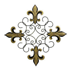 Metallic Gold Fleur De Lis Scrolled Metal Wall Hanging - This beautiful wrought iron wall hanging measures 19 1/4 inches tall, 19 1/4 inches wide. Featuring wonderful styling, with metallic gold painted Fleur de Lis symbols on the corners, the wrought iron center area has a black enamel finish, with sprayed metallic gold accents. It looks great on any wall, and makes a great housewarming gift.