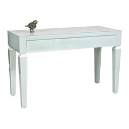 """Worlds Away - Worlds Away Ice Glass Beveled 3-Drawer Desk JACKLYN ICE - Ice Glass beveled 3 drawer desk. All drawers on glides. Height to bottom of drawer from floor 21"""". Ice finish may take on a bluish or greenish cast depending on surrounding lighting and colors it is placed next to. Finish is not �white�."""