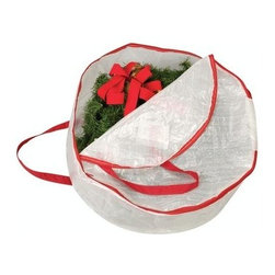 """Household Essentials - Might Stor Wreath Bag: Medium - For every beautiful change of season there is a chance to change your wreath.  Protect your festive pieces by storing them in a protective Mighty Stor® Wreath Bag and never again suffer the sadness of a wreath ruined by unexpected water damage or crawling visitors.  Cut to fit your wreaths and made of durable tear-proof polyethylene these bags help preserve the life and appearance of these wonderful and festive decorations.  Adorn your door and celebrate every season with beautifully pristine wreaths year after year.-DetailsMade of tear-proof polyethylene. Protects holiday and seasonal wreaths from dust and moisture. Sturdy carrying handles and a durable zippered closure. Holds wreaths up to 23"""" in diameter.Dimensions:Length: 24""""Width: 24""""Depth: 8"""""""