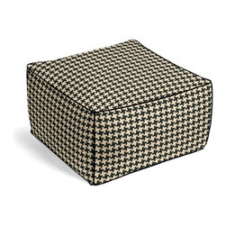 Black & White Knit Houndstooth Square Pouf - The Square Pouf is the hottest thing in decor since the sectional sofa. This bean bag meets Moroccan style ottoman does triple duty as a comfy extra seat, fashion-forward footstool, or part-time occasional table.  We love it in this chunky knit black & white houndstooth. perfect for adding cozy texture to any aesthetic from modern to traditional.