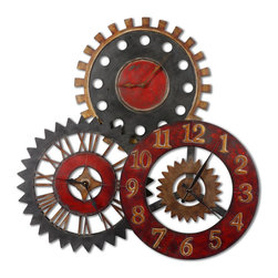 Uttermost - Rusty Movements, Clock - This unusual collage of clocks is made from hand forged metal and features a finish of vibrant rustic red, antiqued gold and aged black.