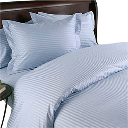 SCALA - 300TC Stripe Blue Queen Flat Sheet & 2 Pillowcases - Redefine your everyday elegance with these luxuriously super soft Flat Sheet . This is 100% Egyptian Cotton Superior quality Flat Sheet that are truly worthy of a classy and elegant look.