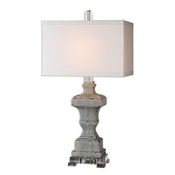 Uttermost - San Marcello Blue Glaze Lamp - Textured ceramic finished in a distressed light blue glaze with rust undertones and an acrylic foot. The rectangle hardback shade is a white linen fabric.