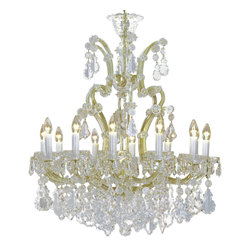 """Inviting Home - Maria Theresa Crystal Chandeliers (Premium Crystal) - clear and gold Maria Theresa style crystal chandelier; 31"""" x 37""""H (13 lights); assembly required; 13 light premium clear crystal chandelier with hand-molded arms and cut crystal components and trimmings; all metal parts have gold finish; genuine Czech crystal; * ready to ship in 2 to 3 weeks; * assembly required; This chandelier is a part of Maria Theresa Collection. At their start the chandeliers bearing the name of Maria Theresa were made on the occasion of the Empress's coronation as queen of Bohemia in 1743. This fact is hidden in the shape of these lighting fixtures reminiscent of the royal crown. Their characteristic feature is the arms' typical flat surface clad with glass bars. The bars are fixed to the arms by glass rosettes and beads with dangling cut crystal chandelier trimmings. These ravishing fixtures were inspired by a chandelier made for Maria Theresa in Bohemia in the mid 18th century. However not only the empress became fond of it; so did many others who fancied the style and the majestic manners after her. Typical elements are metal arms overlaid with glass bars and decorated with crystal rosettes. Originally the trimming was made of typical flat drops called """"pendles"""". Today trimmings of various shapes are used. Premium crystal. A sumptuous type of chandelier trimmings. Fire of the rainbow spectrum brilliance limpidity glitter and perfect scattering and dispersion of light - these are their main features resulting from precise cutting using electronically controlled machines but also from high quality crystal containing more then 30% of lead. Traditional mastery and the revealed mystery of the glass substance blend together with modern technologies and first-rate design in each of these unique pieces. Chandeliers dressed with these trimmings of exceptional beauty will lend an air of grandeur to the ambiance even of the most prestigious interiors. The tradition of production lux"""