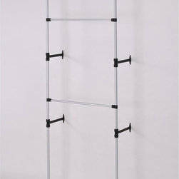 ORE International - Modern 2-Tier Telescopic Clothes Rack - This original modern and simple two tier clothes rack is designed to provide more hanging capacity, while reduce cluttering space  . This sleek and attractive clothes hanger is reinforced with stylish sturdy wall mounts; each tier is adjustable at various lengths . The small and compact size made this design great for storage, practically and mobility. Made with durable and stainless steel finished with a matte coat. 34 in. L x 13 in. W x 89-106 in. H (4 lbs.)