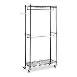 None - Whitmor Supreme Double Rod Rolling Garment Rack - This steel garment rack will help you keep your closets organized. This rack is adjustable and features built-in wheels for easy maneuvering as well as two shelves and hanging rods for added storage space.