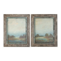Uttermost - Uttermost 51076 Morning Vistas Framed Art, Set of 2 - Uttermost 51076 Morning Vistas Framed Art, Set of 2These oil reproductions feature a hand applied brushstroke finish. Heavily textured, salvaged wood frames with a medium wood tone base rubbed thru to reveal underlying colors of off-white and taupe with a gray glaze. Inner lip has a heavily distressed, meUttermost 51076 Features: