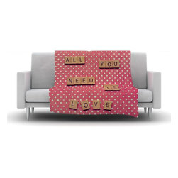 """Kess InHouse - Nastasia Cook """"All You Need Is Love"""" Pink Brown Fleece Blanket (50"""" x 60"""") - Now you can be warm AND cool, which isn't possible with a snuggie. This completely custom and one-of-a-kind Kess InHouse Fleece Throw Blanket is the perfect accent to your couch! This fleece will add so much flare draped on your sofa or draped on you. Also this fleece actually loves being washed, as it's machine washable with no image fading."""