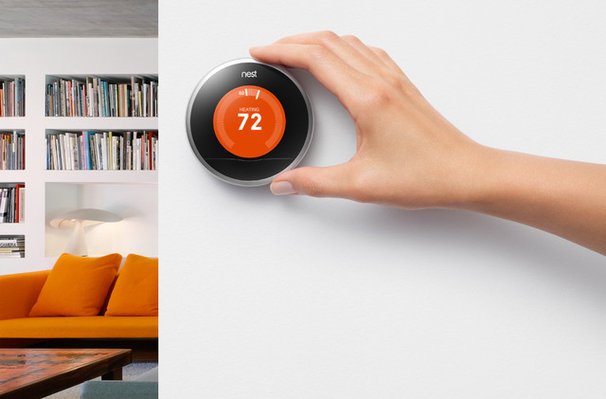 Contemporary Living Room Nest Learning Thermostat