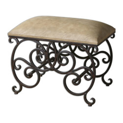 "Uttermost - Anjali Forged Metal Small Bench - Time your foyer forged ahead? The Old World charm of this forged metal bench is a shoe in (or shoes off) for the entrance. Or set it at the foot of your bed. It looks posh, but the polyurethane cushioned seat wipes clean so you can even use it as extra seating when little ""What does posh mean?"" guests come over."