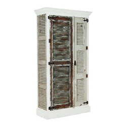 Waterfront Shutter Cabinet - Garden Lattice White finish with Vintage Blue Gris, Vintage Sage, and Waterfront Grey with hang up on shutter doors and side panels. Antiqued hardware.