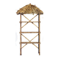 "Bamboo54 - Natural Bamboo 3 Tier Shelf with Palapa Roof - Just because you need to get organized doesn't mean you can't add a flair of unique style, so do it with bamboo furniture! The 3 Tier Bamboo Shelf with Palapa Roof is made from real, durable bamboo wood. This 3 tier shelf unit holds sturdy for all your storage needs, while a dried palm leaf top gives it a perfect island style accent. Knock down design makes the 3 Tier Bamboo Palapa Shelf easy to assemble. Features: -Made from real bamboo.-3 tier shelf unit.-Dried palm leaf accent top cover.-Shelf height djustable at 8.5"" intervals.-Collection: Natural Bamboo.-Product Type: Shelf unit.-Style: Tropical.-Shape: Rectangle.-Finish: Natural bamboo.-Distressed: No.-Powder Coated Finish: No.-Gloss Finish: No.-Frame Material: Wood -Frame Material Details: Bamboo..-Number of Items Included: 1.-Solid Wood Construction: No.-Reclaimed Wood: No.-Non Toxic: Yes.-Water Resistant: No.-Weather Resistant: No.-Scratch Resistant: No.-Stain Resistant: No.-Fire Resistant: No.-Number of Shelves: 4.-Adjustable Shelves: Yes.-Shelf Material: Wood -Shelf Material Details: Bamboo..-Slatted Shelves: Yes.-Room Use: Foyer; Bathroom; Kitchen; Bedroom; Living room; Dining room; Hallway.-Wall Mounted: No.-Free Standing: Yes.-Finished Back: No.-Stackable: No.-Hooks: No.-Drawers: No.-Cabinet/Storage Box: No.-Storage Baskets Included: No.-Weight Capacity (Weight Capacity: Single Shelf) : 25.-Weight Capacity (Weight Capacity: Max) : 100.-Outdoor Use: No.-Commercial Use: Yes.-Recycled Content: No.-Eco-Friendly: Yes.-Product Care: Wipe with moist cloth.Specifications: -Lacey Act Compliant: No.-ANSI BIFMA Compliant: No.-ASTM Compliant: No.-CARB Compliant: No.-CPSIA or CPSC Compliant: No.-CSA Certified: No.-EPP Compliant: No.-fiRA Certified: No.-FSC Certified: No.-General Conformity Certificate: No.-Greenguard Certified: No.-ISTA 3A Certified: No.-ITTO Compliant: No.-SFI Certified: No.-EPA/CPG Compliant: No.Dimensions: -Overall Height - Top to Bottom: 75.-Overall Width - Side to Side: 30.-Overall Depth - Front to Back: 15.-Shelf Width - Side to Side: 28.-Shelf Depth - Front to Back: 12.-Overall Product Weight: 31.Assembly: -Assembly Required: Yes.-Tools Needed: Screwdriver.-Additional Parts Required: No."