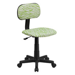 Flash Furniture - Green and White Zebra Print Computer Chair - This attractive design printed office chair will liven up your classroom/ dorm room/ home office or child's bedroom. If you're ready to step out of the ordinary then this computer chair is for you!