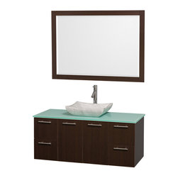 Wyndham Collection - 21.75 in. Wall Mounted Vanity with Mirror - Includes drain assemblies and P-traps for easy assembly. Faucet not included. Modern clean lines. Eight stage preparation. Veneering and finishing process. Highly water resistant low V.O.C. sealed finish. Unique and striking contemporary design. Deep doweled drawers. Fully extending soft close drawer slides. Soft close door hinges. Single hole faucet mount. Two functional doors. Four functional drawers. Plenty of storage space. Green glass top. Carrera marble sink. Engineered for durability and to prevent warping and last for lifetime. 0.75 in. thickness mirror. Made from highest quality grade E1 MDF. Metal exterior hardware with brushed chrome finish. Espresso finish. Minimal assembly required. Mirror: 46 in. W x 33 in. H. Vanity: 48 in. W x 21.75 in. D x 20.25 in. H. Care Instructions. Assembly Instructions - Sink. Assembly Instructions - MirrorTruly elegant design aesthetic meet affordability in the Wyndham Collection Amare Vanity. The attention to detail on this elegant contemporary vanity is unrivalled.