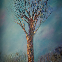 Original  Mixed Media Abstract Bronze Tree Painting - Abstract Contemporary Cobalt Blue Majestic Tree Painting