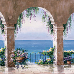 Murals Your Way - Mediterranean Arch 2 Wall Art - Perfect for over a sofa or in a dining room, this wall mural is 8' 10 wide and 4' long (or your custom size)