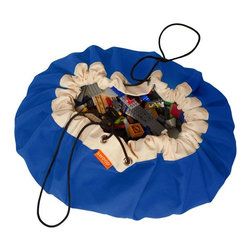 Swoop Bags - Swoop Bag, True Blue, Large - Now you see 'em, now you don't. This clever bag goes from play mat to toy storage bag in one — you guessed it — swoop. Because everyone loves Legos, just not when they're embedded in your foot.
