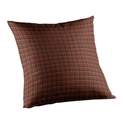 Patch Quilts - Dark Red and Black Plaid Fabric Toss Pillow 16 x 16 Inch - Home spun  yarn dyed fabric throw pillow  - complements with Patch Magic brand quilted line  - Machine washable  Line or Flat dry only Patch Quilts - TPW249A