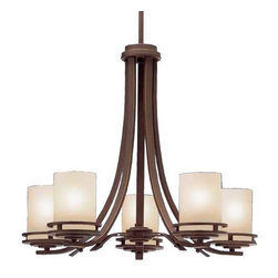 Kichler Lighting - Kichler 5-Light Chandelier - 1672OZ - This attractive chandelier features five etched umber glass cylinders each supported by a swooping arm. It has an aged bronze finish. At 21-1/2 inches tall by 24-1/2 inches wide, this is a wonderful fixture for lighting a dining area or kitchen nook. Comes with three 12-inch stems for an overall height of 59-1/2 inches. Ceiling mount includes sloped ceiling adapter. Takes (5) 100-watt incandescent A19 bulb(s). Bulb(s) sold separately. CUL listed. Dry location rated.