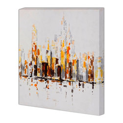 "Begin Home Decor - ""City in Grey"" Printed Canvas, Yellow & Black"" Printed Canvas, 36x36 - Contemporary gallery wrapped canvas 36 inch x 36 inch. This high-quality giclee print captures those colors so vividly, the brushstrokes still look wet."