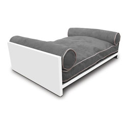 Pet Lounge Studios - White Solid wood Daybed, Graphite Gray - Our  white Solid wood  Daybed is our most transitional and luxurious design. Fit for the little kings and queens of the world! It is a true piece of furniture and will add warmth to the finest home interiors. It is created with rich, solid wood and contains shreded  orthopedic memory foam  along with two bolster pillows so your furry family member can comfortably rest their head over the side. The removable and washable cushion cover uses the highest quality ultra-suede fabric which is inherently stain resistant.
