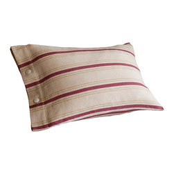 Taylor Linens - Homespun Boudoir - This cozy pillow radiates homespun charm. Classic stripes animate a swathe of oatmeal-colored cotton, which is finished at the edge with tidy button closures. The cover is machine-washable cotton, and comes with a feather and down insert for long-lasting comfort.