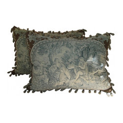 Toile Pillows - A Pair of French Style Toile Pillows. Unusual colors of Brown, Blue and Cream. These have outlined