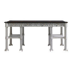 Stanley Furniture - Charleston Regency Russell Writing Desk - Gray Linen Finish - The Gray Linen finish of the Russell Writing Desk quietly communicates a powerful disposition created by its eight-quatrefoil legs. The design offers three drawers and two fixed shelves. Made to order in America.