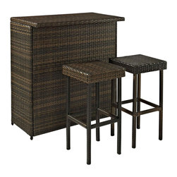 Crosley Furniture - 3-Pc Outdoor Wicker Bar Set - Includes table and two stools. Durable steel frame. Bar has shelf. Extra wide serving service. Warranty: 90 days. Made from UV resistant outdoor resin wicker. Minimal assembly required. Stool: 15 in. W x 15 in. D x 29 in. H. Bar: 40 in. L x 24 in. W x 42 in. HHost outdoor happy hour with our elegantly designed, all-weather outdoor resin wicker bar set. Clean lines marry with an abundance of underneath storage for all your barware essentials. Finely crafted with intricately woven wicker over durable steel frames to provide lasting resiliency to the weather. Be the hit of outdoor entertaining with this stylish bar.