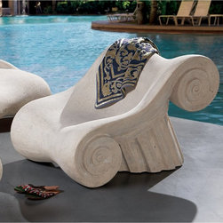 Design Toscano - Hadrian's Villa Roman Spa Furniture Collection - Master's Chair - NE90025 - Shop for Chairs and Sofas from Hayneedle.com! With a design inspired by the columns of Greece the Hadrian s Villa Roman Spa Furniture Collection Master s Chair brings a classic touch to any setting. This beautiful chair is crafted from quality resin and given a realistic stone finish. Ideal for bathrooms spas poolside or Jacuzzi areas.About Design Toscano: Design Toscano is the country's premier source for statues and other historical and antique replicas which are available through our catalog and website. We were named in Inc. magazine's list of the 500 fastest growing privately-held companies for three consecutive years - an honor unprecedented among catalogers. Our founders Michael and Marilyn Stupak created Design Toscano in 1990. While on a trip to Paris the Stopkas first saw the marvelous carvings of gargoyles and water spouts at the Notre Dame Cathedral. Inspired by the beauty and mystery of these pieces they decided to introduce the world of medieval gargoyles to America in 1993. On a later trip to Albi France the Stopkas had the pleasure of being exposed to the world of Jacquard tapestries that they added quickly to the growing catalog. Since then our product line has grown to include Egyptian Medieval and other period pieces that are now among the current favorites of Design Toscano customers along with an extensive collection of garden fountains statuary authentic canvas replicas of oil painting masterpieces and other antique art reproductions. At Design Toscano we pride ourselves on attention to detail by traveling directly to the source for all historical replicas. Over 90% of our catalog offerings are exclusive to the Design Toscano brand allowing us to present unusual decorative items unavailable elsewhere. Our attention to detail extends throughout the company especially in the areas of customer service and shipping.