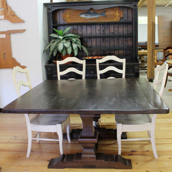 Rustic Square Trestle Dining Table - Made by www.ecustomfinishes.com