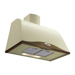 "Designer Range Hoods - ""Boston Tile"" Series - Designer Italian range hood makes a stylish addition to the classic / country style kitchen. Ivory-tone enamel finish with Antique Brass frame and decorative painted emblem for a ""custom-made"" look."