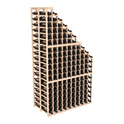 Double Deep Wine Cellar Waterfall Display Kit in Pine - The same beautiful cascading waterfall but in a double deep capacity. Displays 18 choice vintages in a tiered fashion. Designed within our modular specifications and to Wine Racks America's superior product standards, you'll be satisfied. We guarantee it.
