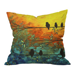 DENY Designs - Madart Inc Birds Of A Feather Outdoor Throw Pillow, 26x26x7 - Do you hear that noise? It's your outdoor area begging for a facelift and what better way to turn up the chic than with our outdoor throw pillow collection? Made from water and mildew proof woven polyester, our indoor/outdoor throw pillow is the perfect way to add some vibrance and character to your boring outdoor furniture while giving the rain a run for It's money.