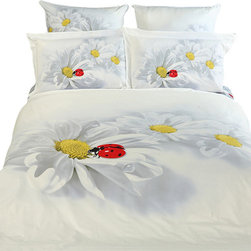Dolce Mela - Luxury Modern Queen Bedding Duvet Cover Set Dolce Mela DM421, Twin - Decorate with Curiosita bedding ensemble for an innocent and charming look of your bedroom's decor, featuring bright ladybugs flirting with motifs of Chamomile Flowers on a white backdrop.