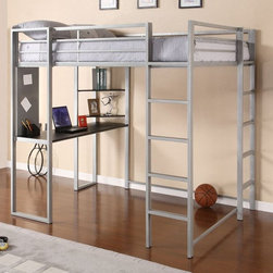 Dorel Home Products - Abode Full Loft Bed - NOTE: ivgStores DOES NOT offer assembly on loft beds or bunk beds. Upper guardrails for added safety. Front and side ladders. Silver frame with black desk and two shelves. Designed for smaller spaces. Warranty: One year. Desk: 55 in. L x 19 in. D x 30 in. H. Bed:. Weight Capacity: 300 lbs.. 81 in. L x 58.5 in. W x 72 in. H (156.4 lbs.). Assembly Instructions. Bunk Bed Warning Please read before purchase.This trendy loft bunk bed embraces both trend and functionality. The piece creates a sense of privacy and provides a quiet spot to study or relax.