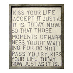Kiss Your Life Reclaimed Wood Vintage Wall Art