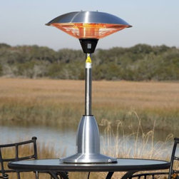 "Firesense 60403 Stainless Steel Table Top Halogen Patio Heater - Our Stainless Steel Table Top Round Halogen Patio Heater introduces a new revolution in outdoor heating. This halogen patio heater runs on regular household electric current and is substantially less expensive to operate than propane patio heaters. This adaptable unit can be used indoors and outdoors and has three heat settings* No UV rays, silent operation* Stainless steel & aluminum construction* 100% Heat production within seconds* No wasteful heating of the air* Weighted base* About 1/10 the energy costs of LPG Heaters* No harmful emissions or toxic residuals* 8 ft. non-retractable electrical cord* Standard 110V household current* Protective aluminum reflector* Can be used indoors as well* ETL Approved* Recommended primarily for sheltered external use* Unit must be on dedicated lineAssembled Dimensions: 14.97"" Base, 42.28"" Height, Weight: 20.68 lbs.;Carton Dimensions: 25"" L x 24"" W x 16.5"" H, Weight: 24 lbs."