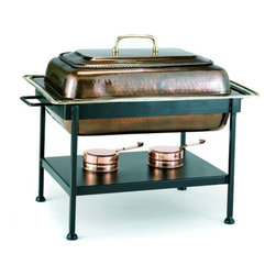 Old Dutch - Old Dutch 842 Rectangular Antique Copper Chafing Dish - 842 - Shop for Chafing Dishes from Hayneedle.com! Your food stays warm and elegantly presented in the Old Dutch 842 Rectangular Antique Copper Chafing Dish. Lacquered to resist tarnishing this elegant chafing dish features strong durable copper construction and extra-large rectangular shape that's perfect for holiday meals and family gatherings. Boasting a classic ornate style this 8-quart capacity chafing dish is oven-safe and includes an ornate lift-off cover with a sturdy handle. It rests in a sleek black metal frame with four straight legs. Adjustable gel-fuel holders keep your food at just the right serving temperature.About Old Dutch InternationalFamous for their copperware Old Dutch International Ltd. has been supplying the best in imported housewares and giftware to fine retailers throughout America since 1950. They offer a large assortment of housewares including bakers racks trivets and pot racks in materials like chrome colorful enamel and stainless steel. Other product lines include wine racks serving trays specialty cookware clocks and other home accessories. Old Dutch warehouses and distributes their products from a 30 000 square foot facility in Saddle Brook N.J.