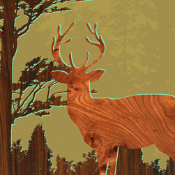 jefdesigns - Forest Critters Print — Deer 1 - Bring the forest into your living space with this stunning print featuring a glorious stag created from an original drawing and digitally enhanced with natural woodgrain. Designed by Joe Futschik, it measures six by six and needs no framing. UV gloss protects and intensifies its rich colors of burnt sienna, gold and brown.