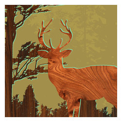 jefdesigns - Forest Critters Print - Deer 1 - Bring the forest into your living space with this stunning print featuring a glorious stag created from an original drawing and digitally enhanced with natural woodgrain. Designed by Joe Futschik, it measures six by six and needs no framing. UV gloss protects and intensifies its rich colors of burnt sienna, gold and brown.