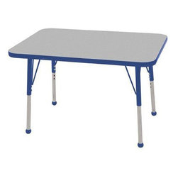 """Ecr4kids - Ecr4Kids Adjustable Activity Table - Rectangular 24"""" X 36"""" Elr-14106-Gbl-Tb Blue - Table tops feature stain-resistant and easy to clean laminate on both sides. Adjustable legs available in 3 different size ranges: Standard (19""""-30""""), Toddler (15""""-23""""), Chunky (15""""-24""""). Specify edge banding and leg color. Specify leg type."""